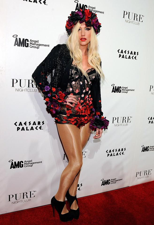 LAS VEGAS, NV - MARCH 13:  Recording artist Ke$sha arrives at the Pure Nightclub at Caesars Palace to host the club's eighth anniversary party on March 13, 2013 in Las Vegas, Nevada.  (Photo by David Becker/Getty Images)