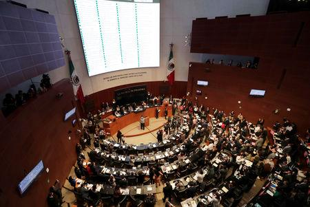 FILE PHOTO: A general view shows the Senate during a session to vote on the creation of a militarized police force, the National Guard, in Mexico City
