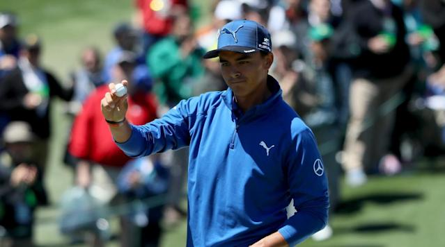 Rickie Fowler celebrates an eagle on the second hole during the second round.