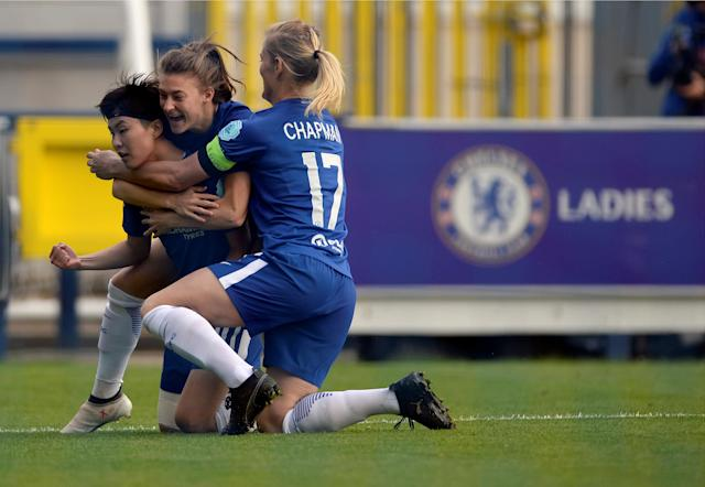 Soccer Football - Women's Champions League Semi Final First Leg - Chelsea v VfL Wolfsburg - The Cherry Red Records Stadium, London, Britain - April 22, 2018 Chelsea's So-Yun Ji celebrates scoring their first goal Action Images via Reuters/Adam Holt