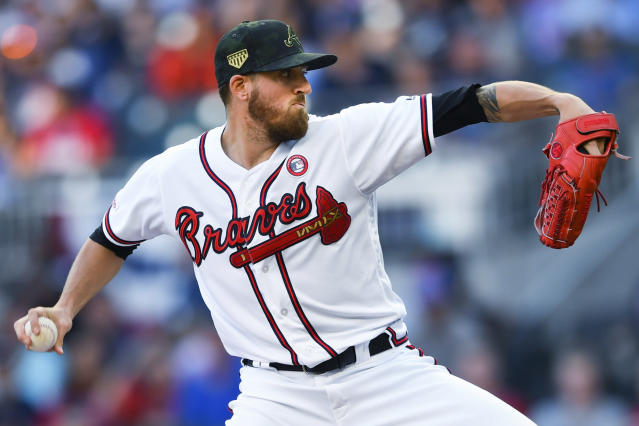 Atlanta Braves' Kevin Gausman pitches against the Milwaukee Brewers during the first inning of a baseball game Saturday, May 18, 2019, in Atlanta. (AP Photo/John Amis)