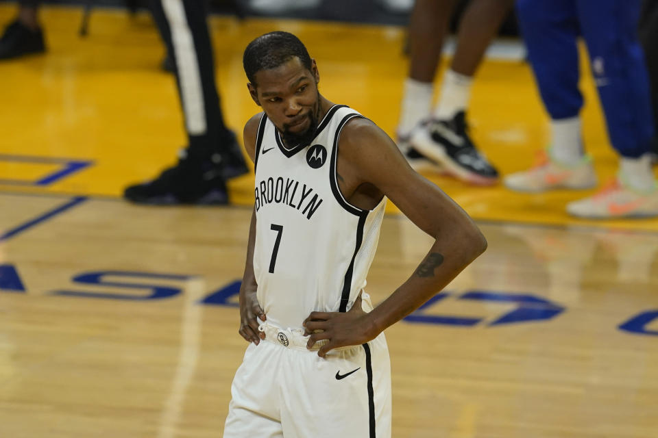 Brooklyn Nets forward Kevin Durant before an NBA basketball game against the Golden State Warriors in San Francisco, Saturday, Feb. 13, 2021. (AP Photo/Jeff Chiu)