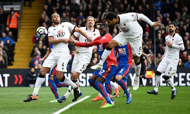 "<span class=""element-image__caption"">Watford's Troy Deeney scores an own goal to give Crystal Palace a crucial home win.</span> <span class=""element-image__credit"">Photograph: Dylan Martinez/Reuters</span>"