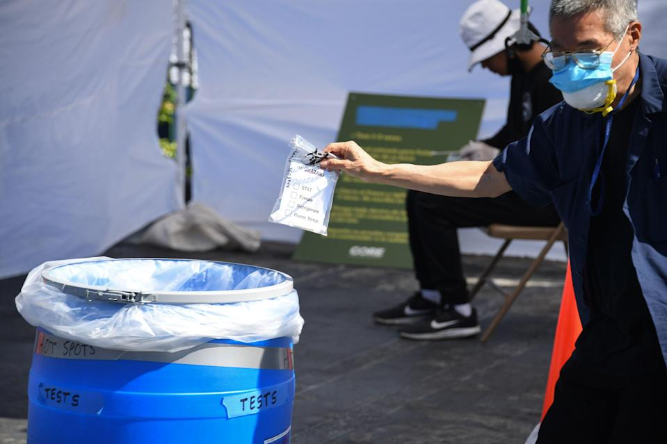 Coronavirus testing being carried-out in Los Angeles, California  (AFP via Getty Images)