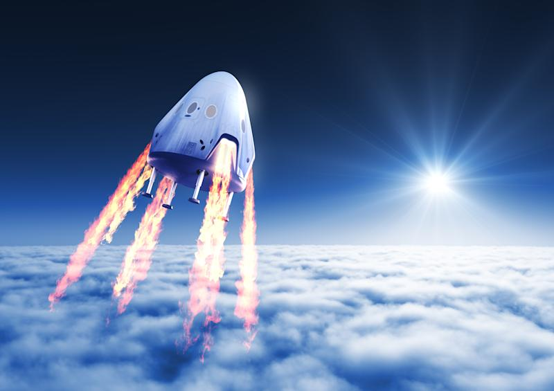 Private Spacecraft Module Launch Above The Clouds. 3D Illustration.