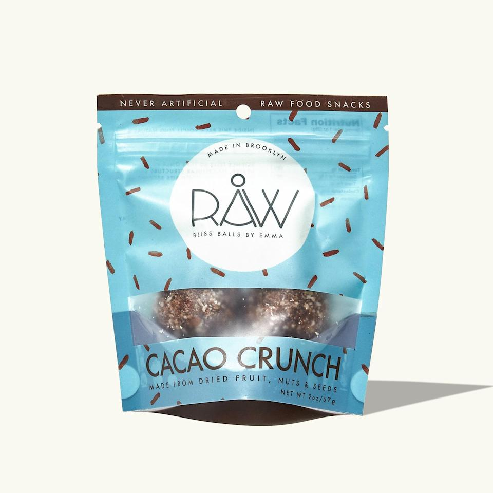 """<p>""""We've tasted a lot of balls, and they're either dry and crumbly or soggy and oily. But these ones made with shredded coconut, nuts, cacao, and chia seeds are amazing.""""</p> <p><em>Buy it: <a rel=""""nofollow noopener"""" href=""""https://getintothebubble.com/products/cacao-crunch-balls-4-pack"""" target=""""_blank"""" data-ylk=""""slk:Raw Bliss Balls Cacao Crunch, $18 for a 4-pack."""" class=""""link rapid-noclick-resp"""">Raw Bliss Balls Cacao Crunch, $18 for a 4-pack.</a></em></p>"""