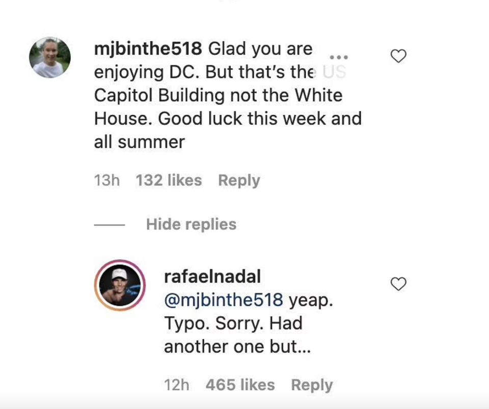 Rafa Nadal responding to a number of followers on Instagram.