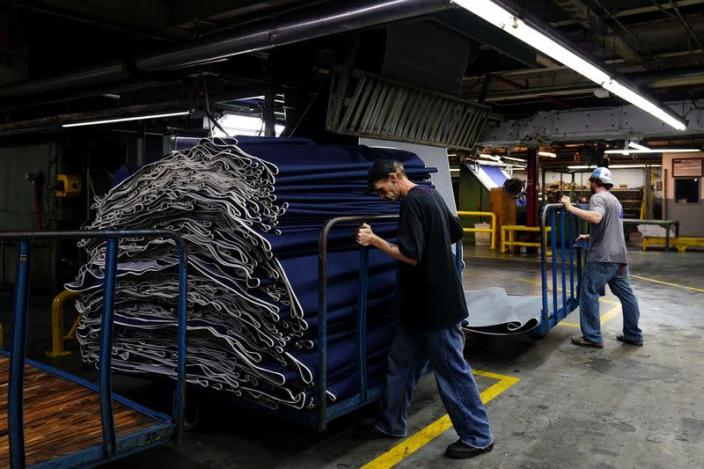 Employees are seen at work at Mountain View Mills in Trion