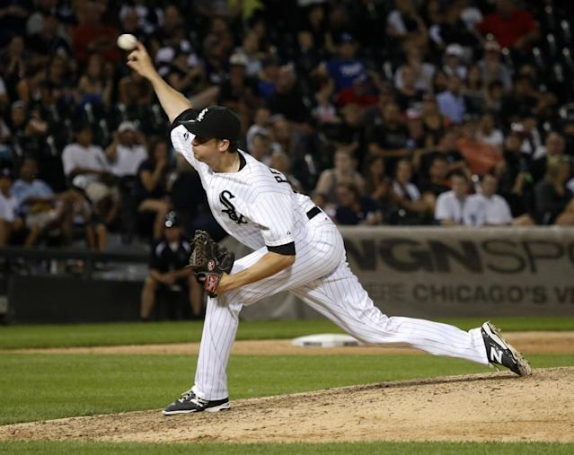 Chicago White Sox relief pitcher Jake Petricka delivers during the ninth inning of a baseball game and the White Sox's 3-1 win over the Kansas City Royals Monday, July 21, 2014, in Chicago. (AP Photo/Charles Rex Arbogast)