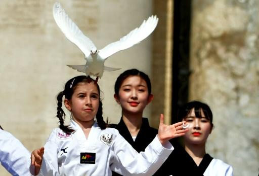 A Korean girl released a dove as a sign of peace