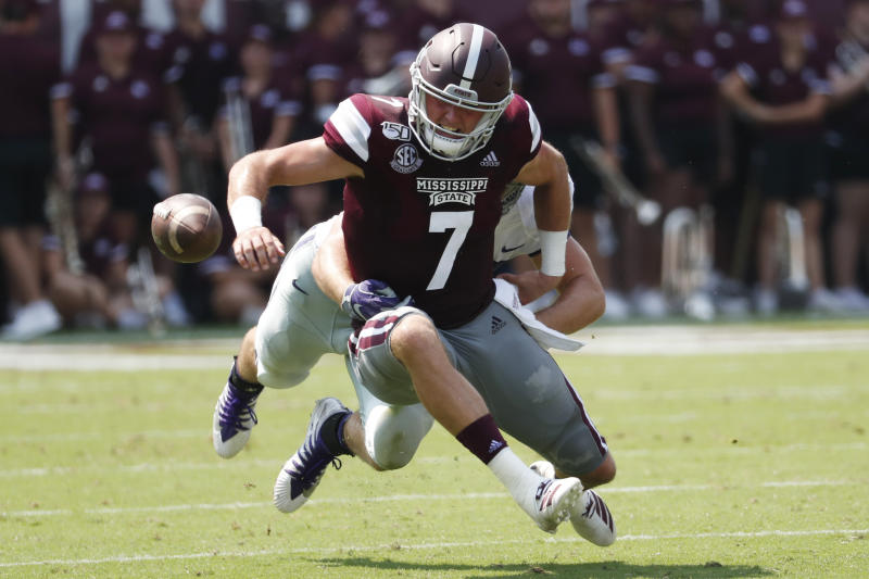 Mississippi State quarterback Tommy Stevens (7) tries to recover his fumble against Kansas State during the first half of their NCAA college football game in Starkville, Miss., Saturday, Sept. 14, 2019. (AP Photo/Rogelio V. Solis)