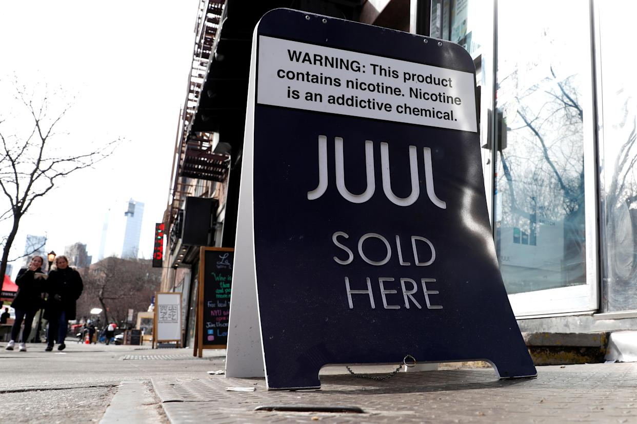 A sign advertising Juul brand vaping products is seen outside a shop in Manhattan in New York City, New York, U.S., February 6, 2019. (Photo: REUTERS/Mike Segar)