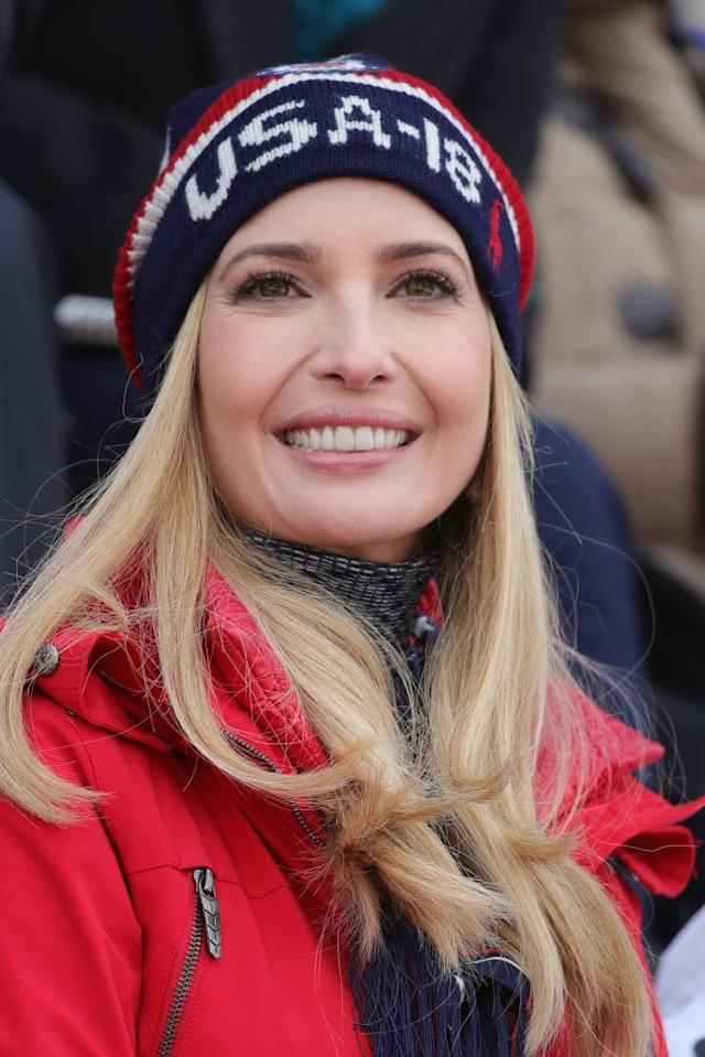 Ivanka Trump at Alpensia Ski Jumping Centre on Feb. 24 in PyeongChang, South Korea. (Photo: Getty Images)