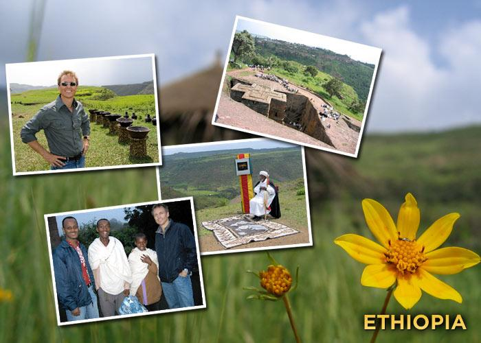 "Before my visit to Ethiopia I had no idea what to expect. I pictured a dry, barren, brown landscape and instead discovered lush green mountains. On the show we traveled to the town of Lalibela, where the incredible St George Church is literally cut into the red rock. The town is located at 7,000 feet above sea level and inhabited by a mere 15,000 people. Following one of our pit-stops, I decided I couldn't miss the opportunity to go for a run with the locals. Our destination? A local, 10,000-foot-high mountain. As we headed out of town dozens of local kids, all fit and incredibly enthusiastic, joined us for the run. After an hour of climbing, one of them effortlessly ran past me. When I approached him, he said, ""You're pretty fit for an old man.""  Looking down I realized he was wearing a cheap pair of plastic shoes. After being invited into his home for tea at the end of the run, I arranged to get some proper running shows for the young man, who descends 3,000 feet every day for school and then climbs 3,000 feet back home."
