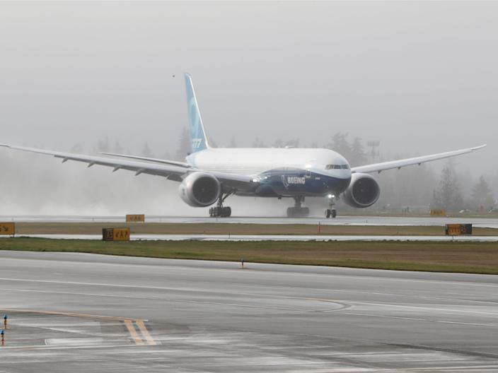 The wingspan of a Boeing 777X.