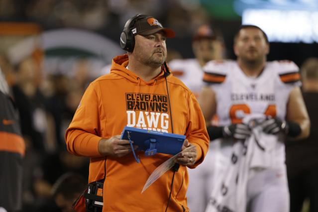 Cleveland Browns head coach Freddie Kitchens watches his team play during the second half of an NFL football game against the New York Jets, Monday, Sept. 16, 2019, in East Rutherford, N.J. (AP Photo/Adam Hunger)