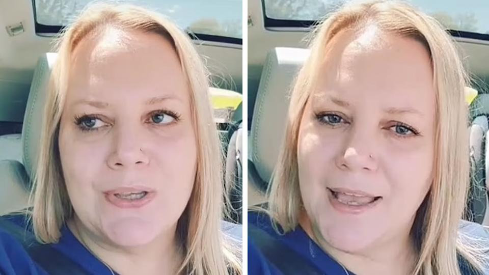 Two screenshots of TikTok user Ami Addison, 47, from Pennsylvania who uncovered her husband's affair in a local newspaper