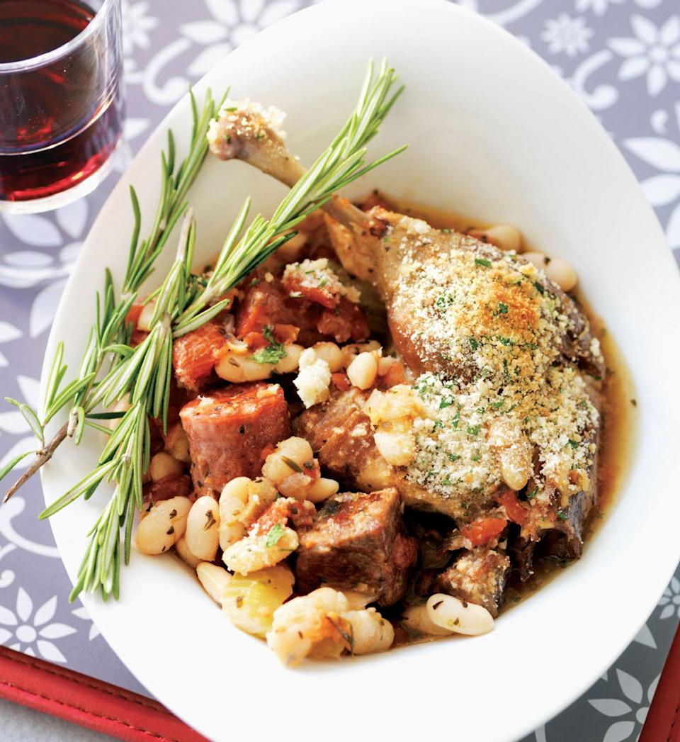 """This cassoulet is filled to the brim with white beans, lamb, garlic sausage, and smoked sausage (and breadcrumbs), but you can make yours with any meat you like—with this recipe, you can't lose. <a href=""""https://www.epicurious.com/recipes/food/views/all-day-slow-cooker-cassoulet?mbid=synd_yahoo_rss"""" rel=""""nofollow noopener"""" target=""""_blank"""" data-ylk=""""slk:See recipe."""" class=""""link rapid-noclick-resp"""">See recipe.</a>"""