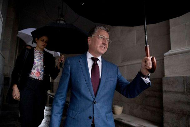 PHOTO: Kurt Volker, a former special envoy to Ukraine, leaves Capitol Hill in Washington, Oct. 16, 2019, after testifying before congressional lawmakers as part of the House impeachment inquiry into President Donald Trump. (Andrew Harnik/AP, FILE)