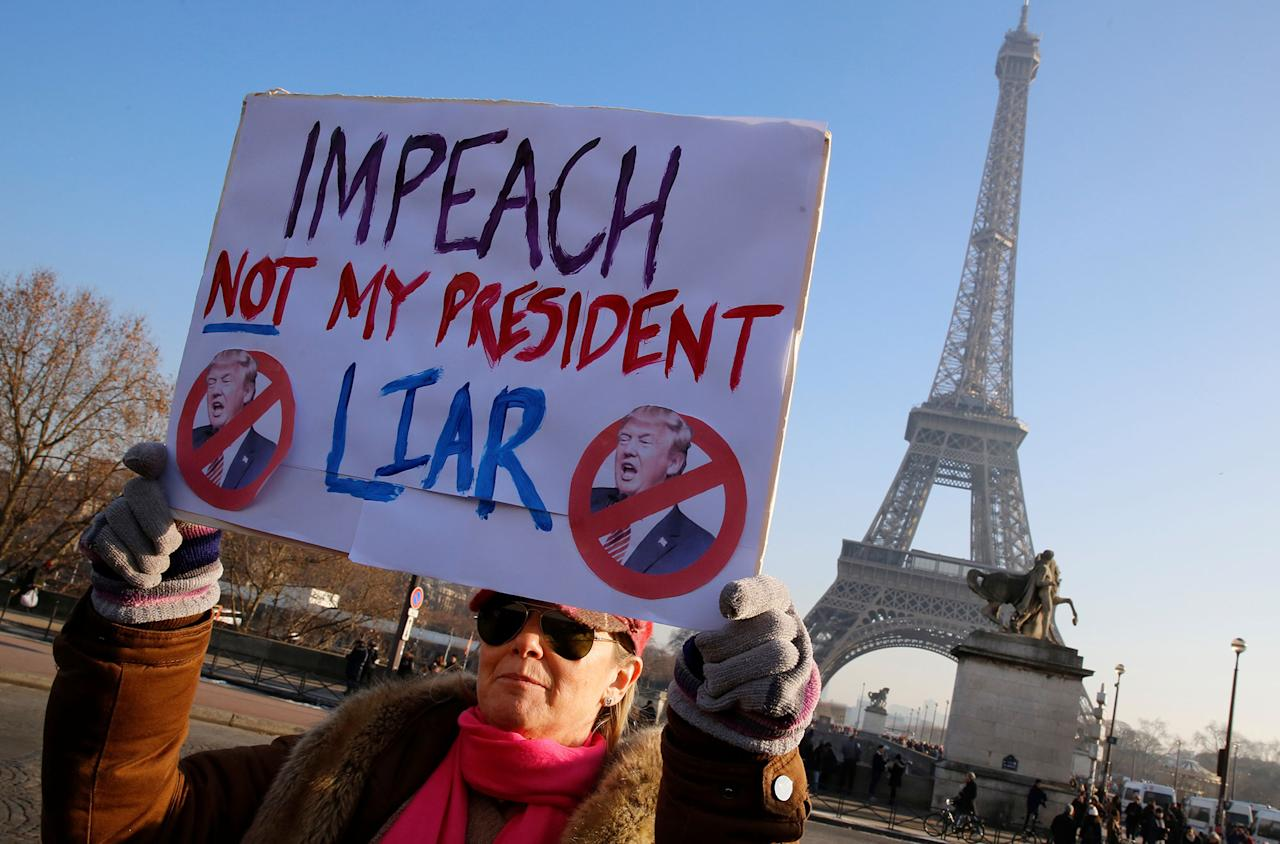 <p>Protesters take part in the Women's March in Paris, France, January 21, 2017. The march formed part of a worldwide day of action following the inauguration of Donald Trump to U.S. President. (Jacky Naegelen/Reuters) </p>