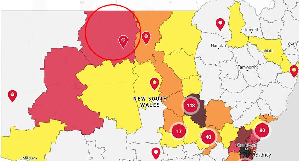 A red circle on a map of NSW's Covid spread which shows the local government area that takes in Enngonia.
