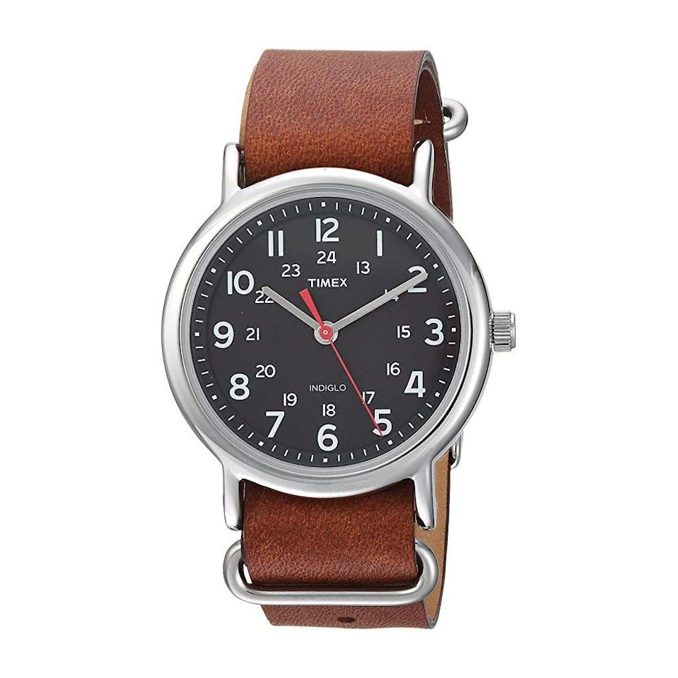 """<p><strong>Timex</strong></p><p>amazon.com</p><p><strong>$39.90</strong></p><p><a href=""""https://www.amazon.com/dp/B071KWGY4P?tag=syn-yahoo-20&ascsubtag=%5Bartid%7C2141.g.29492086%5Bsrc%7Cyahoo-us"""" rel=""""nofollow noopener"""" target=""""_blank"""" data-ylk=""""slk:Shop Now"""" class=""""link rapid-noclick-resp"""">Shop Now</a></p><p>This Timex watch looks five times more expensive than it is, but no one needs to know that. The dark leather strap ages beautifully, gaining even more character with age.</p>"""