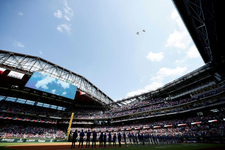 Packed stands at the Texas Rangers home opener on Monday