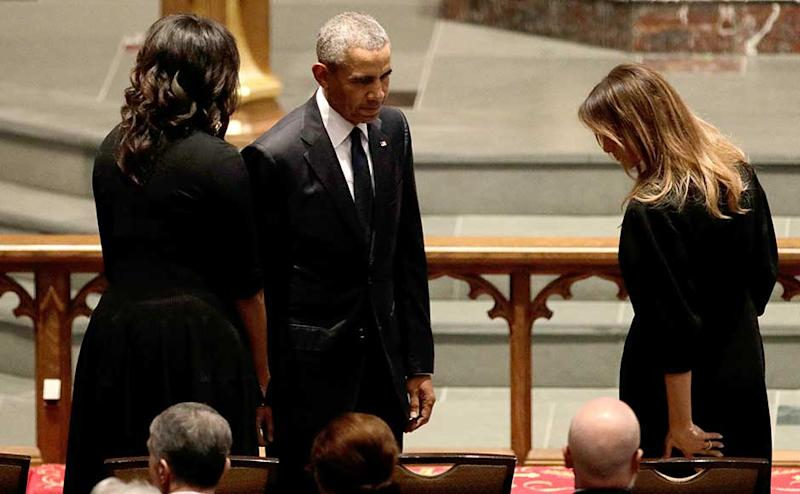 Four of the five living ex-presidents attended the funeral service, including former president Barack Obama and his wife, former first lady Michelle Obama, as well as former president Bill Clinton and his wife, former secretary of state and first lady Hillary Clinton. The Clintons' daughter, Chelsea Clinton, was also in attendance. Reuters