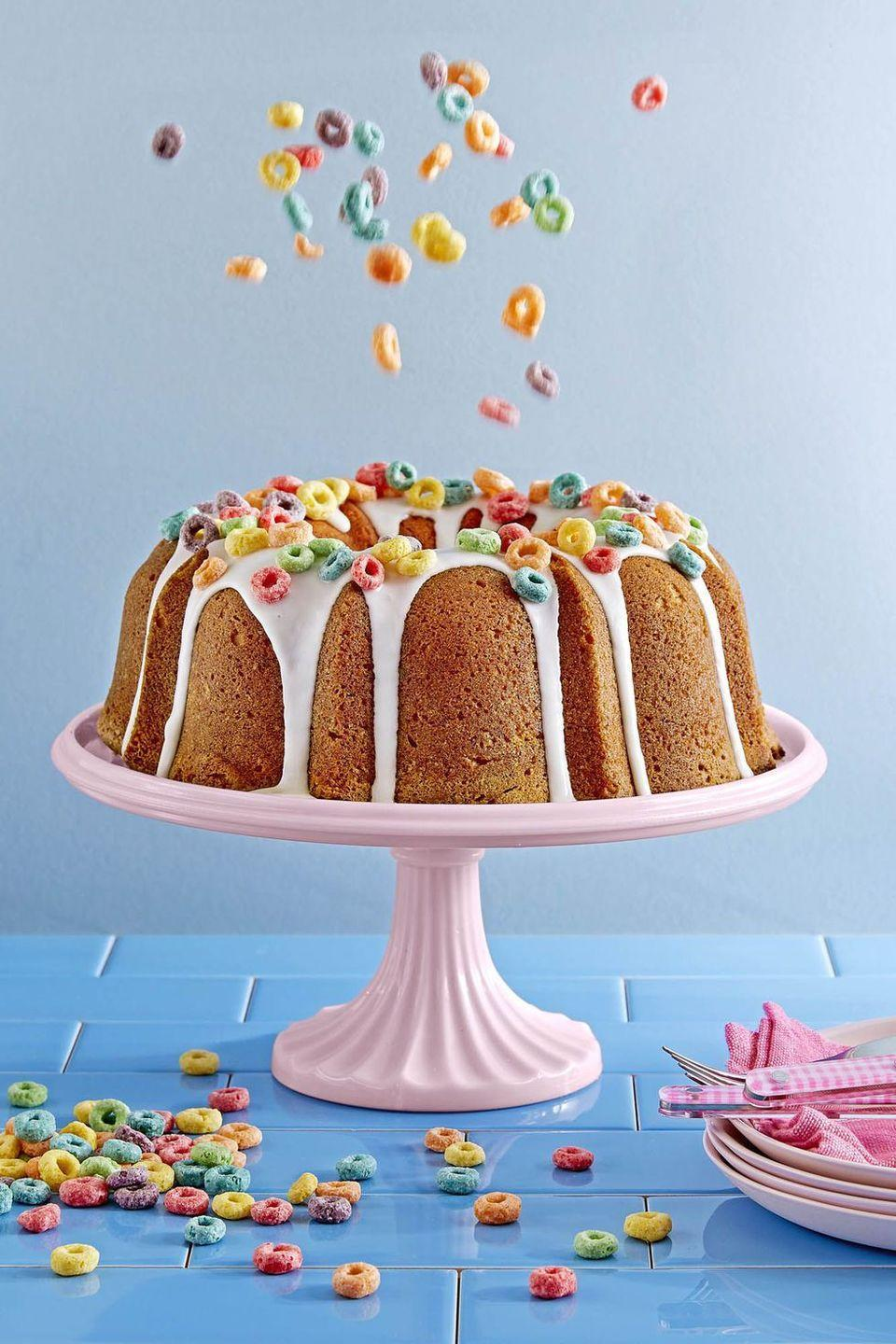 """<p>The perfect post-brunch treat: Sprinkle your favorite kid's cereal atop this sweet cake for a touch of color. </p><p><em><a href=""""https://www.countryliving.com/food-drinks/recipes/a46351/froot-loops-cake-recipe/"""" rel=""""nofollow noopener"""" target=""""_blank"""" data-ylk=""""slk:Get the recipe for Country Living »"""" class=""""link rapid-noclick-resp"""">Get the recipe for Country Living »</a></em></p><p><strong>RELATED:</strong> <a href=""""https://www.goodhousekeeping.com/holidays/mothers-day/g676/mothers-day-brunch-recipes/"""" rel=""""nofollow noopener"""" target=""""_blank"""" data-ylk=""""slk:40 Delicious Mother's Day Brunch Recipes That Mom Will Love"""" class=""""link rapid-noclick-resp"""">40 Delicious Mother's Day Brunch Recipes That Mom Will Love</a></p>"""