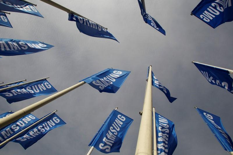 Samsung flags are set up at main entrance to Berlin fair ground