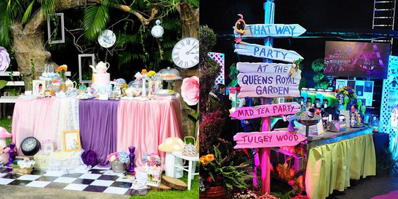 """<p>Send your guests down the rabbit hole with a whimsical <em>Alice in Wonderland</em>-themed homecoming. Get lots of clocks, mushrooms, and of course, tea cups for a magical night in Wonderland. </p><p><strong>What you need: </strong></p><p><a href=""""https://www.amazon.com/Memory-Journey-Flowers-Handcrafted-Nursery/dp/B07FM7WV8C/ref=sr_1_20_sspa?keywords=giant+decorative+flowers&qid=1560970235&s=gateway&sr=8-20-spons&psc=1"""" target=""""_blank"""">Giant Paper Flowers, $24, amazon.com</a></p><p><a href=""""https://www.amazon.com/Talking-Tables-TS6-CUPSET-VINTAGE-Scrumptious-Vintage/dp/B07M8J1S57/ref=sr_1_6?keywords=plastic+tea+cups&qid=1560970266&s=gateway&sr=8-6"""" target=""""_blank"""">Floral Tea Cups and Saucer Sets, $16, amazon.com</a></p>"""
