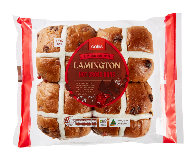 Coles lamington hot cross buns