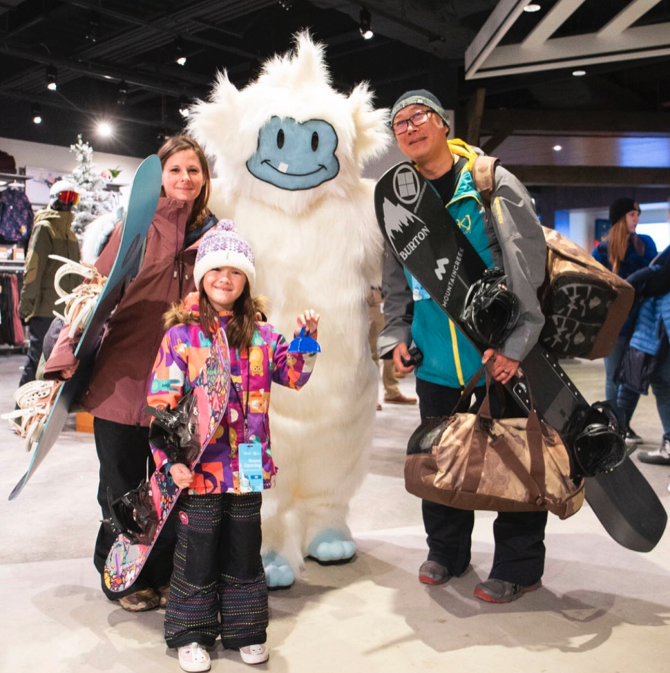 Big, Big SNOW's official mascot, poses with adoring fans on opening day. (Photo courtesy of Big Snow Instagram)