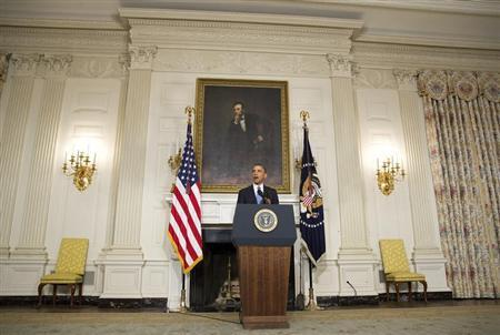 U.S. President Barack Obama makes a statement about an agreement reached with Iran on its nuclear program at the White House in Washington November 23, 2013. REUTERS/Joshua Roberts