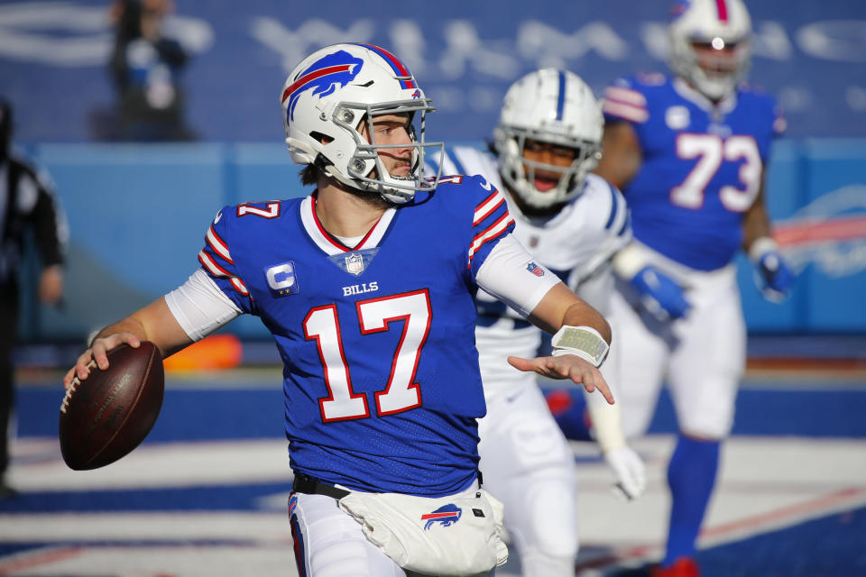 Buffalo Bills quarterback Josh Allen (17) throws a pass during the first half of an NFL wild-card playoff football game against the Indianapolis Colts, Saturday, Jan. 9, 2021, in Orchard Park, N.Y. (AP Photo/Jeffrey T. Barnes)