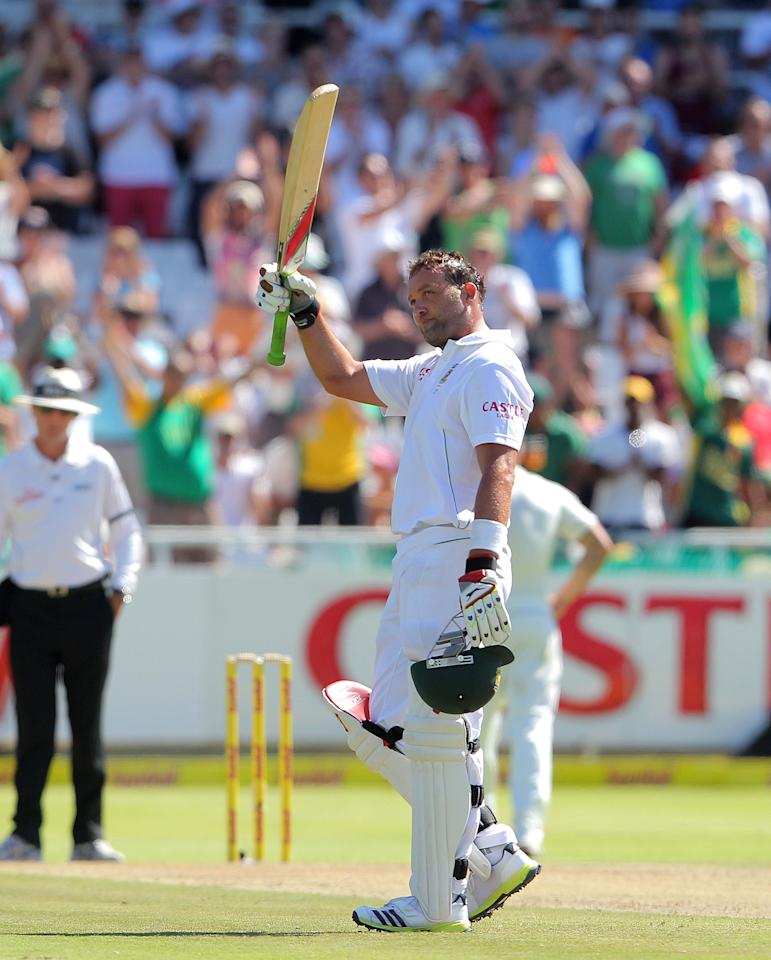 CAPE TOWN, SOUTH AFRICA - JANUARY 02: Jacques Kallis of the Proteas celebrates after becoming only the fourth batsman in history to score 13,000 runs in Test cricket during day 1 of the 1st Test between South Africa and New Zealand at Sahara Park Newlands on January 02, 2013 in Cape Town, South Africa. (Photo by Carl Fourie/Gallo Images/Getty images)