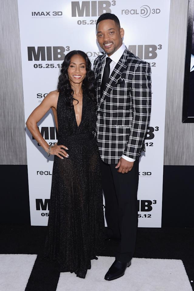 """NEW YORK, NY - MAY 23:  Jada Pinkett Smith and Will Smith attend the """"Men In Black 3"""" New York Premiere at Ziegfeld Theatre on May 23, 2012 in New York City.  (Photo by Stephen Lovekin/Getty Images)"""
