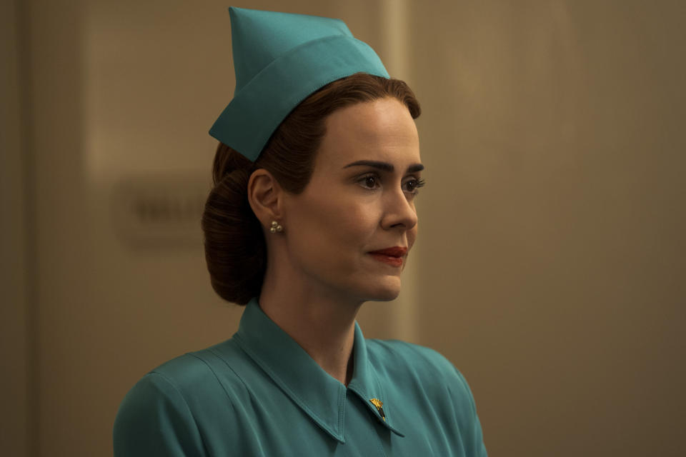 """This image released by Netflix shows Sarah Paulson in a scene from """"Ratched."""" (Saeed Adyani/Netflix via AP)"""
