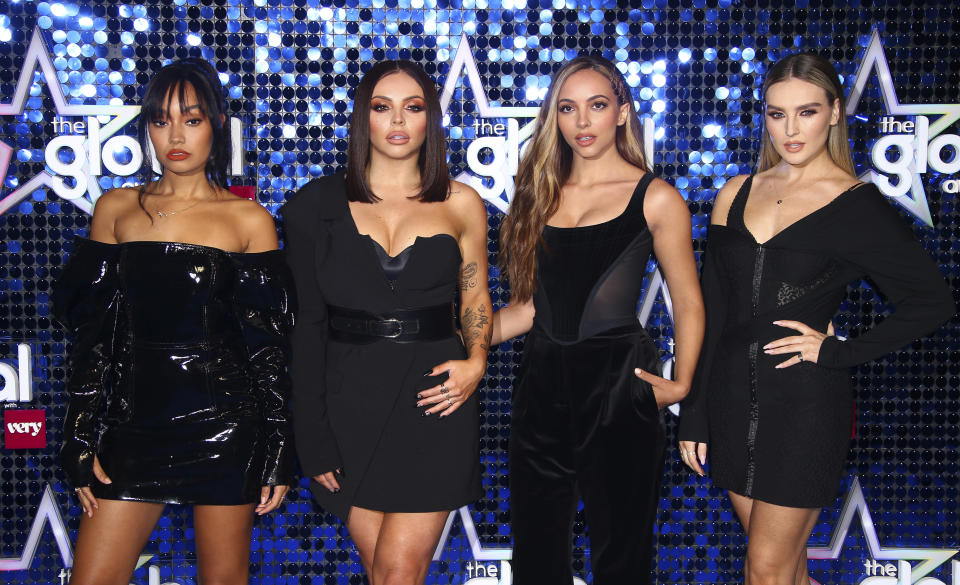 Band members Leigh-Anne Pinnock, Jesy Nelson, Jade Thirlwall, Perrie Edwards, of Little Mix, pose for photographers upon arrival at the Global Gift Gala in London, Thursday, March 7, 2019. (Photo by Joel C Ryan/Invision/AP)