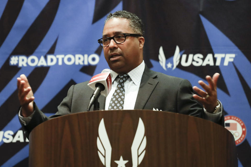 FILE - Max Siegel, CEO of USA Track & Field, talks during a news conference at the U.S. Olympic Track and Field Trials in Eugene Ore., in this Tuesday, July 5, 2016, file photo. The connection that might best illustrate the tangled web Nike weaves with its running partners is the 23-year sponsorship deal worth a reported $500 million it cut with USA Track and Field back in 2014. It was widely criticized in some corners — USATF CEO Max Siegel took heat for underselling the sport's growth potential with an arrangement set to last through 2040. (AP Photo/Matt Slocum, File)