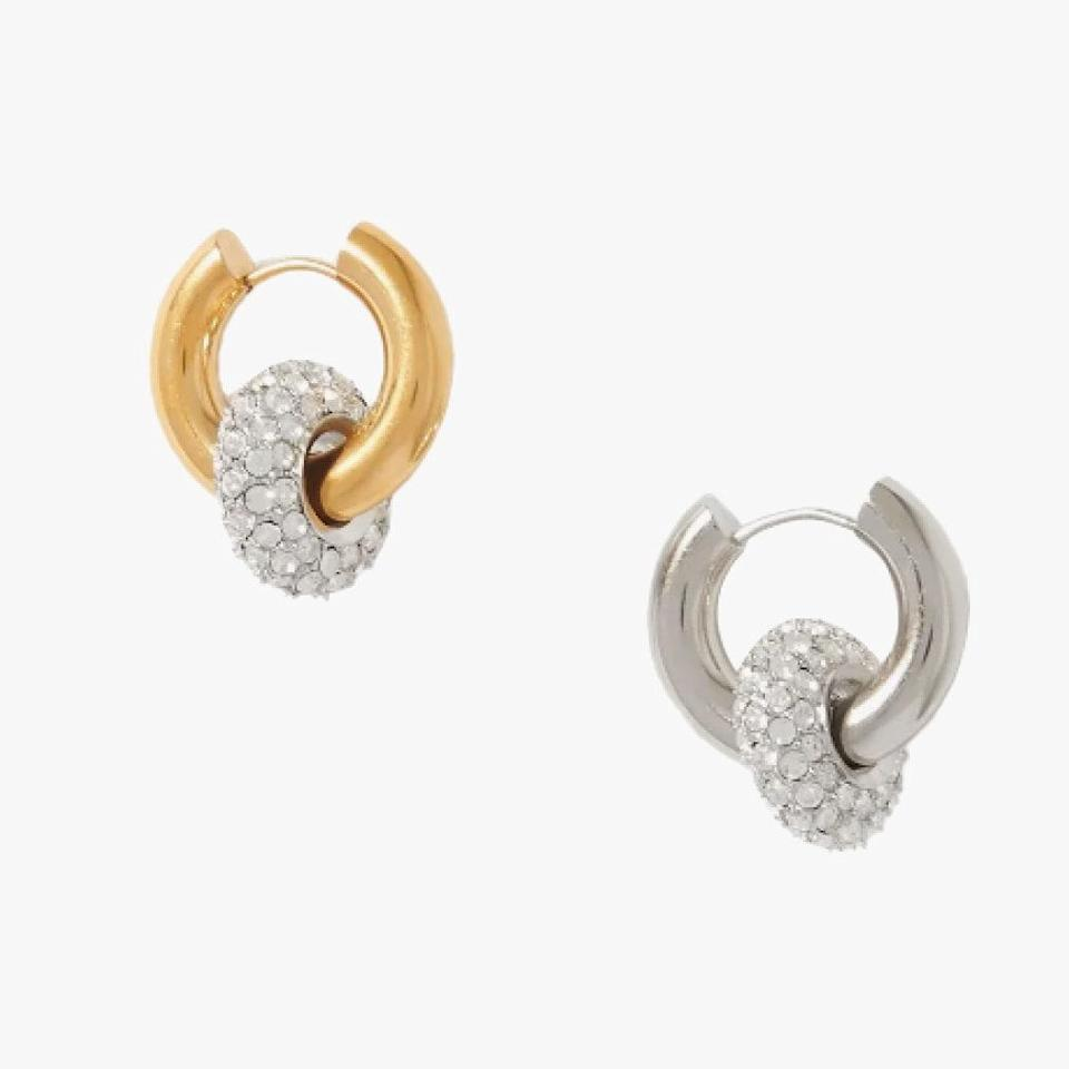 """$385, NET-A-PORTER. <a href=""""https://www.net-a-porter.com/en-us/shop/product/timeless-pearly/gold-and-silver-tone-crystal-earrings/1306764"""" rel=""""nofollow noopener"""" target=""""_blank"""" data-ylk=""""slk:Get it now!"""" class=""""link rapid-noclick-resp"""">Get it now!</a>"""