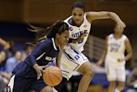 Duke's Richa Jackson guards Old Dominion's Galaisha Goodhope during the first half of an NCAA college basketball game in Durham, N.C., Thursday, Jan. 2, 2014. (AP Photo/Gerry Broome)