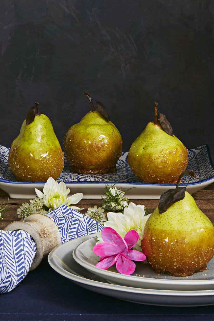 "<p>These fancy little pears, coated in sweet and salty sauce, are a welcome addition to a table full of pies.</p><p><em><a href=""https://www.goodhousekeeping.com/food-recipes/dessert/a35226/salted-caramel-pears/"" rel=""nofollow noopener"" target=""_blank"" data-ylk=""slk:Get the recipe for Salted Caramel Pears »"" class=""link rapid-noclick-resp"">Get the recipe for Salted Caramel Pears »</a></em></p>"
