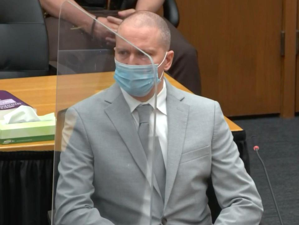 Derek Chauvin listens to his mother's statement during his sentencing for the murder of George Floyd (Court live stream)