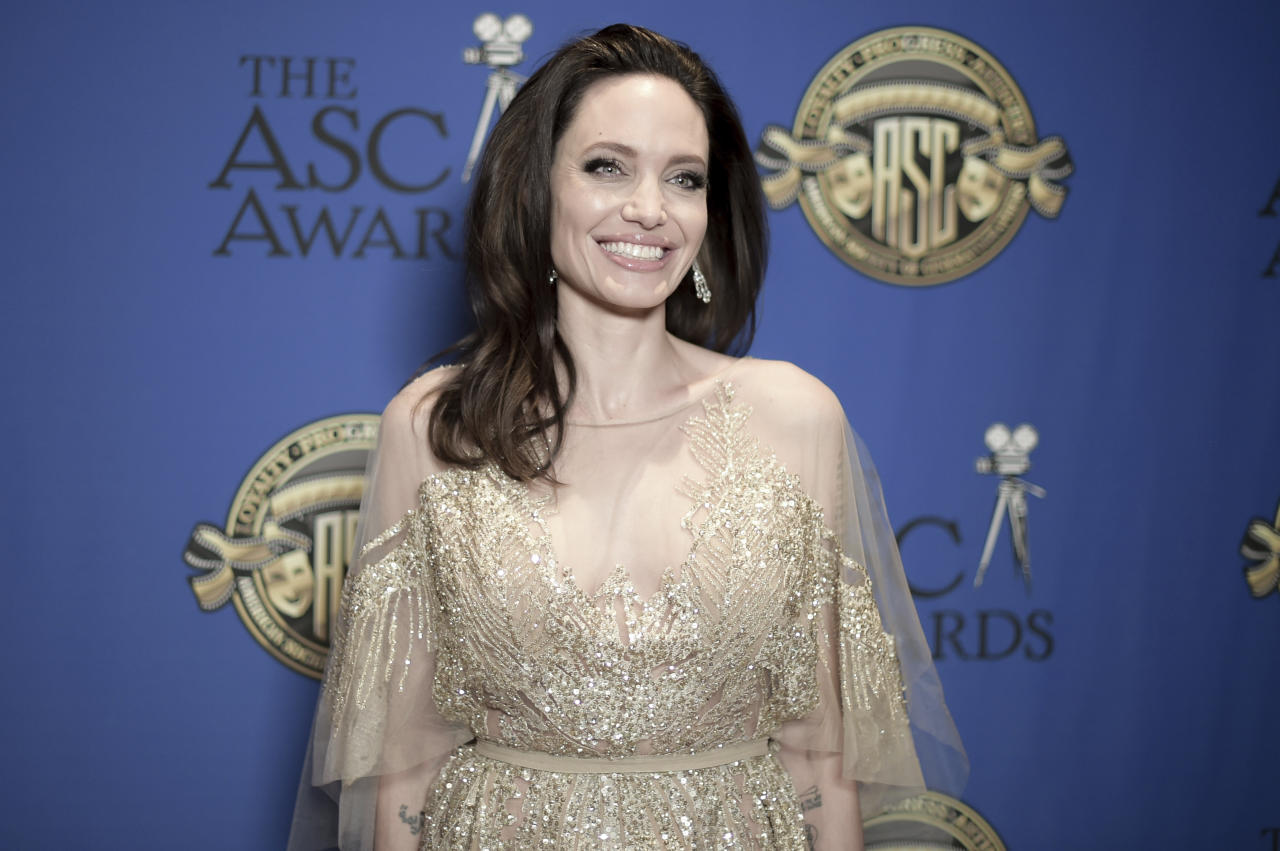 Angelina Jolie attends the 2018 American Society of Cinematographers Awards at the Dolby Theatre on Saturday, Feb.18, 2018, in Los Angeles. (Photo by Richard Shotwell/Invision/AP)