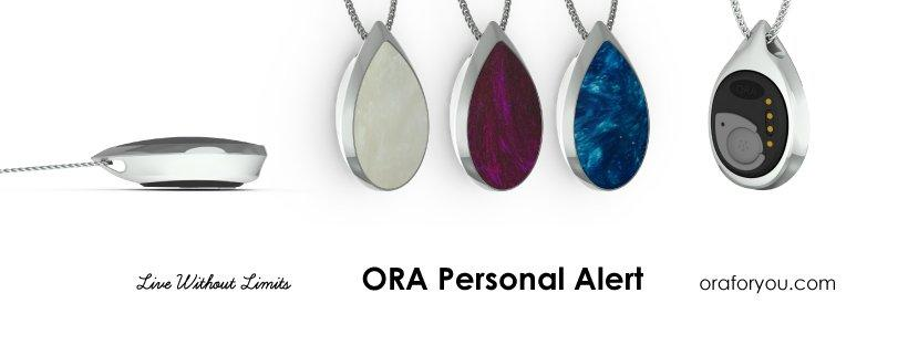 ORA is a personal health and safety alert device that's disguised in jewelry and sportswear. ORA works with a smartphone, keeping the wearer safe and connected wherever there is cell phone coverage, unlike most other medical alert devices that limit people to their home. The brains behind the device, the ORA Link, clip in and out of stylish designs easily, allowing for versatility to match any style.Click here for high-resolution version