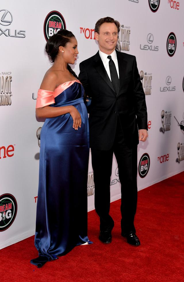 PASADENA, CA - FEBRUARY 22: Actors Kerry Washington (L) and Tony Goldwyn attend the 45th NAACP Image Awards presented by TV One at Pasadena Civic Auditorium on February 22, 2014 in Pasadena, California. (Photo by Alberto E. Rodriguez/Getty Images for NAACP Image Awards)