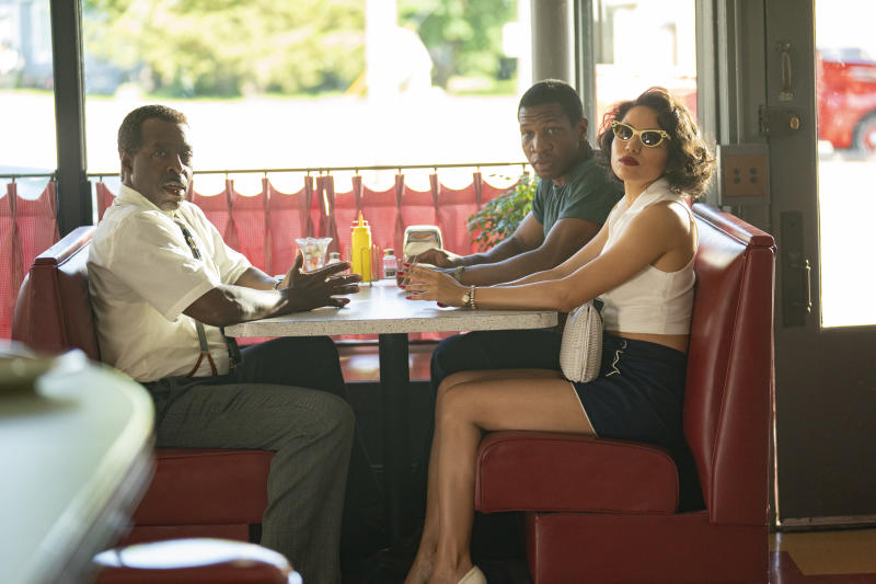 L-R: Courtney B. Vance, Jonathan Majors, Jurnee Smollett-Bell in Lovecraft Country. (©Elizabeth Morris/HBO)
