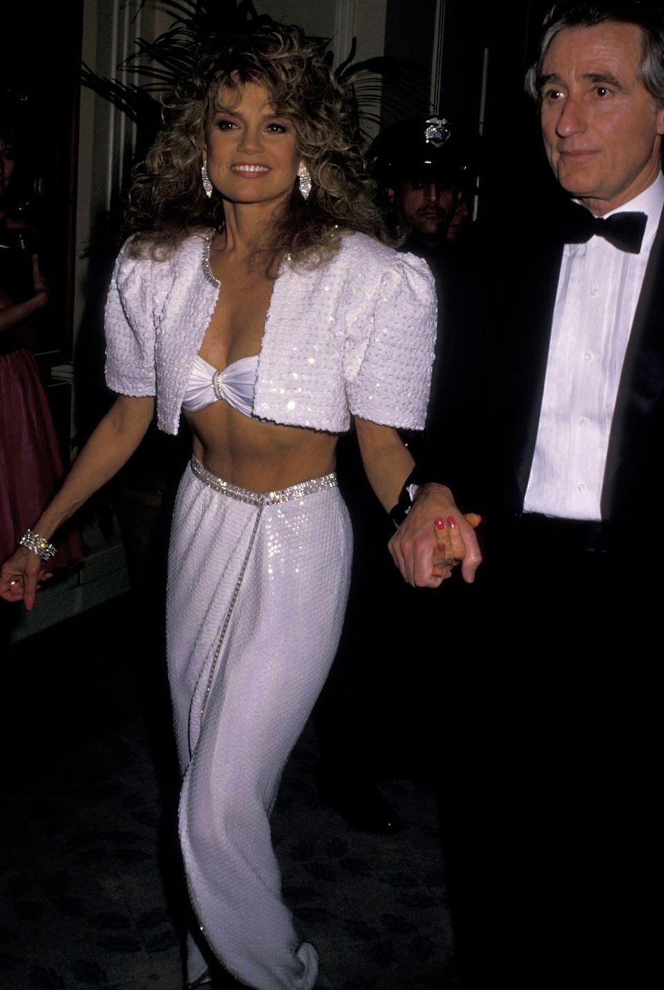 <p>The actress channeled a sexy, sequin genie in this outfit for her appearance at the 1988 Golden Globes. </p>