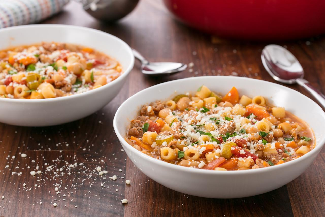 """<p>Stop eating soup only when you're sick! These soups make eating your vegetables as easy (and maybe even as delicious) as pie, and don't take much effort to put together. Need more cold weather comfort? Try one of our <a href=""""/cooking/g1829/winter-soup/"""">50 best winter soups and stews</a>.</p>"""